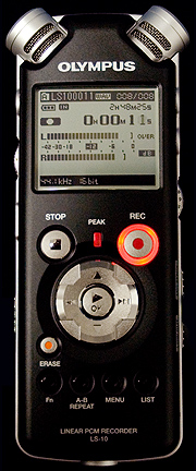 Olympus LS-10 digital music recorder front view